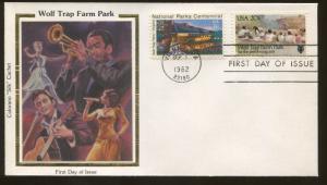 1982 Vienna Virginia Wolf Trap Farm Park Colorano Silk Cachet First Day Cover