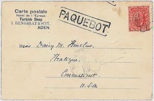 PAQUEBOT \ BOATS : Postal History - ADEN - postcard to USA 1906