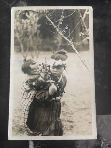1935 Hawaii USA Postcard Cover RPPC To Detroit Usa Mother And Son Natives