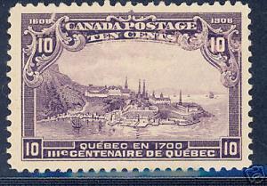 CANADA TERCENTENARY 10C V F  MINT H  SCOTT#101,SG#193