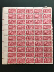 1945 sheet of postage stamps, 2 ¢ Roosevelt, Sc# 931