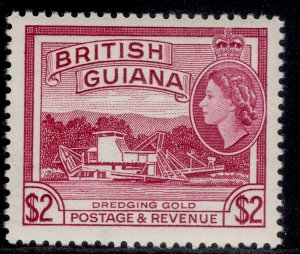 BRITISH GUIANA QEII SG365, $2 reddish mauve, NH MINT. Cat £18.