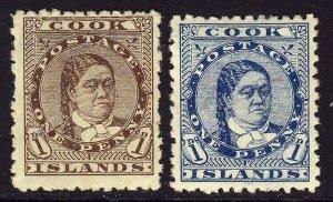 COOK ISLANDS 1893-94 1d Brown & Blue P12x11½  Watermark NZ Star SG 5 & SG 6 MINT
