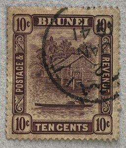 Brunei 1937 10c with BELAIT 2 JAN 41 cancel. Scott 54, CV $32.50.   SG 73