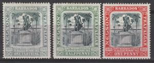 BARBADOS 1906 NELSON CENTENARY 1/4D 1/2D AND 1D WMK CROWN CC