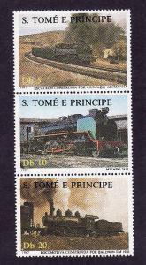 St Thomas & Prince-Sc#811-unused NH strip-Trains-Locomotives-1987-