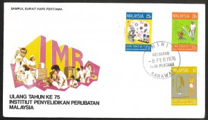 Malaysia SC#138-140 Medical Research 75th Anniversary (1976) FDC
