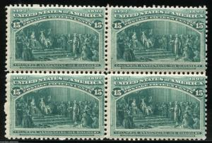 UNITED STATES SC# 238 15-CENT COLUMBIAN BLOCK OF FOUR MINT NEVER HINGED