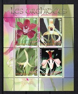 Congo, 2009 issue. Orchids sheet of 4. ^
