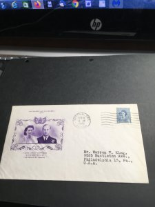Canada #276 Royal Wedding FDC.Stamp shows Princess Eizabeth.Cachet in Purple VF
