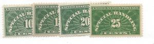 United States, QE1-4, Special Handling 1928 VF+ Singles, MNH