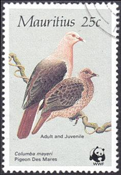 Mauritius # 613 used ~ 25¢ Pink Pigeons, WWF