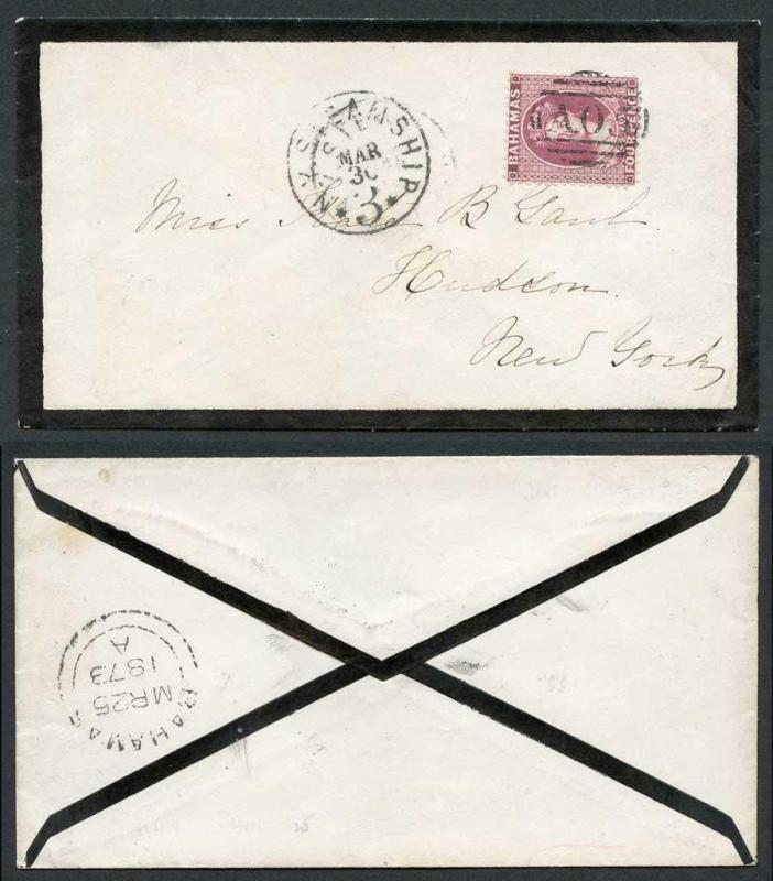 Bahamas 1873 cover to New York bearing perf 12.5 4d (deep) dull rose Very Pretty