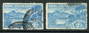 New Zealand SG49/50 2 1/2d Blue WakItipu and corrected WakAtipu Cat 58.50