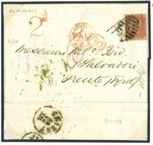 N20c 1868 GB BULK PREPAID DESTINATION MAIL London H Cancel Trient Tyrol Austria