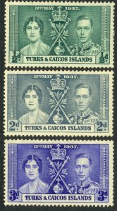TURKS AND CAICOS ISLANDS 1937 KGVI CORONATION Set Sc 75-77 MNH