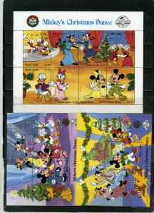 SIERRA LEONE 1988 DISNEY MICKEY'S CHRISTMAS DANCE SHEET OF 8 STAMPS & 2 S/S MNH