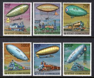 Comoro Islands 247-252 Zeppelins Trains MNH VF
