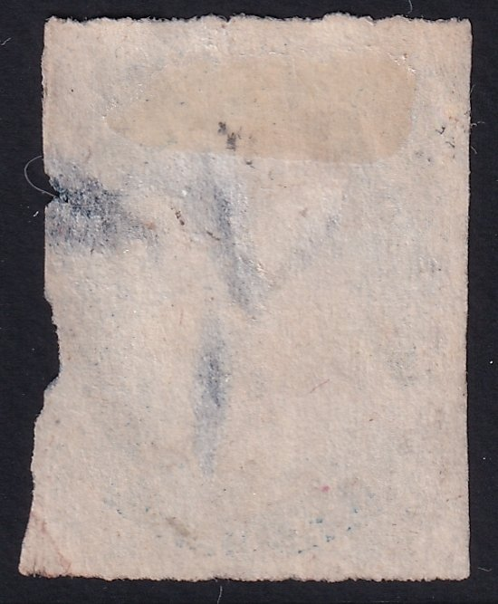 US STAMP #7 – 1852 1c Franklin, blue, imperforate, type II used faults