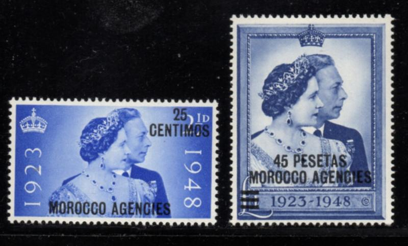 Great Britain Morocco Sc 93-4 1948 G VI Silver Wedding stamp set mint
