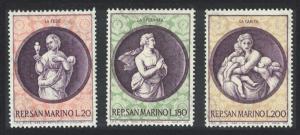 San Marino Christmas 'The Theological Virtues' by Raphael 3v SG#874-876