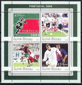 Guinea Bissau, Mi Cat. 2082-2085 A. Euro Portugal Soccer sheet of 4.