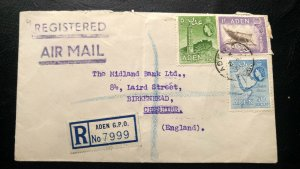 """RARE ADEN 1954 """"NATIONAL BANK OF INDIA"""" REGISTERED COVER TO UK WITH BANK SEALING"""
