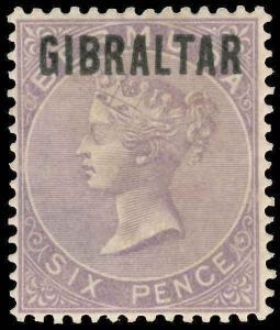 Gibraltar Scott 6 Gibbons 6 Mint Stamp