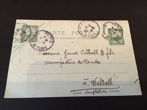 Tunisia 1907 used stamps card Ref R28643