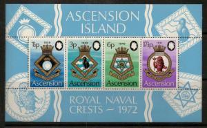 ASCENSION SGMS158 1972 NAVAL CRESTS MNH