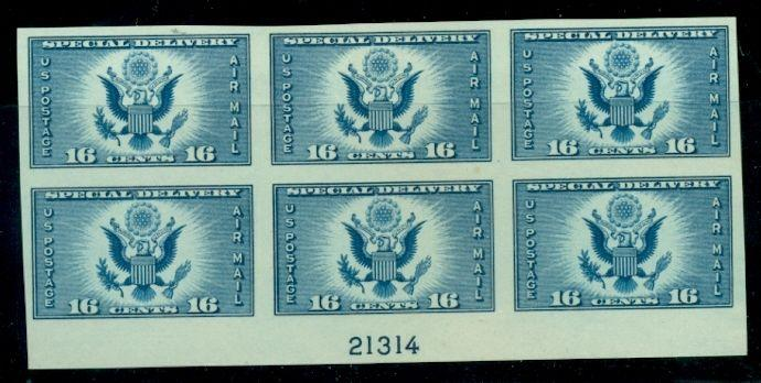US #771 16¢ dark blue, Imperf Plate No. Block of 6, no gum as issued, VF