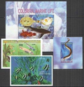 K1438 SIERRA LEONE COLORFUL MARINE LIFE FISHES SHARKS FAUNA 1KB+3BL MNH