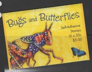 AUSTRALIA SGSB165(2333b) 2003 BUGS AND BUTTERFLIES $5 SELF ADHESIVES MNH