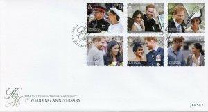 Jersey 2019 FDC Prince Harry Meghan 1st Wedding 6v Set Cover Royalty Stamps