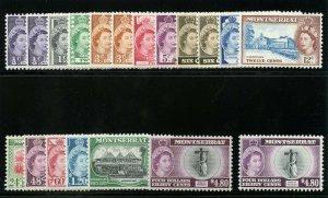 Montserrat 1953 QEII set complete superb MNH. SG 136a-149a.