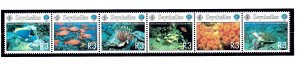 Seychelles 803 MNH 1998 Intl Year of the Ocean strip of 6