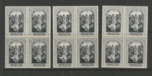 Malta 1954 Dogma, reproduction ( same colour ) by Penrose, UM/MNH blocks of 4