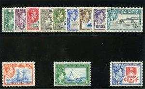 Gilbert & Ellice Islands 1939 KGVI set complete MLH. SG 43-54. Sc 40-51.
