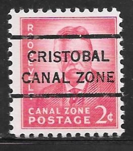 Canal Zone 138: 2c T. Roosevelt, Cristobal precancel, MNH, F-VF