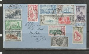 Barbados 1950 Defs on FDC, Plain SG 271/82, see notes
