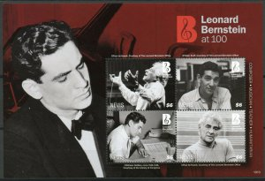 Nevis 2019 MNH Leonard Bernstein at 100 4v M/S Composers Music People Stamps