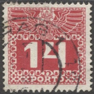 AUSTRIA 1910  Sc J39 14h Postage Due Used  VF,  PRAG cancel