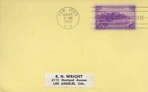 801 3c PUERTO RICO - R. N. Wright card