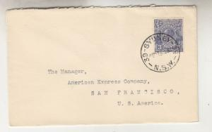 AUSTRALIA,1935 Bank NSW cover, KGV 3d. Blue, SYDNEY, 39 cds. to USA