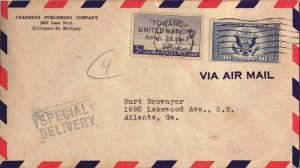 United States Michigan Kalamazoo 1946 machine  5c United Nations and 16c Grea...