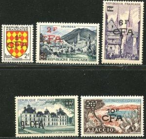 REUNION Sc#305-309 1954 Overprints on France Complete Set OG Mint NH