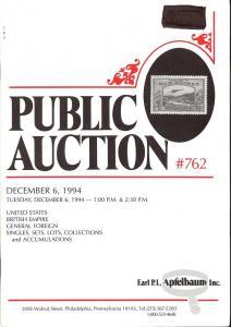 Apfelbaum: Sale # 762  -  United States, British Empire, ...