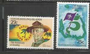 COCOS ISLANDS, 85-86, MNH, 75TH ANNIV. OF SCOUTING