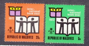 J27530 1972 maldive islands set mnh #381-2 books
