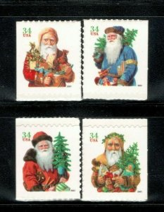 3541-44 Christmas Santa's Set Of 4 Mint/nh Free Shipping (A-391)
